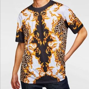 Zara 2019 Versace style baroque print T-shirt